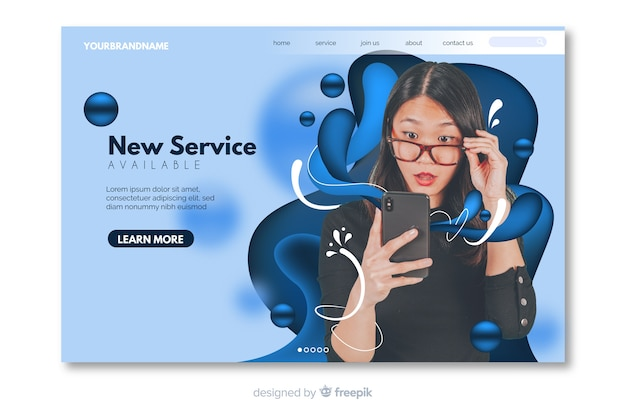 Vivid technology landing page with abstract fluid shapes