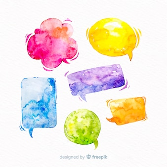 Vivid watercolored speech bubbles  mix