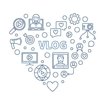 Vlog heart concept blue thin line illustration