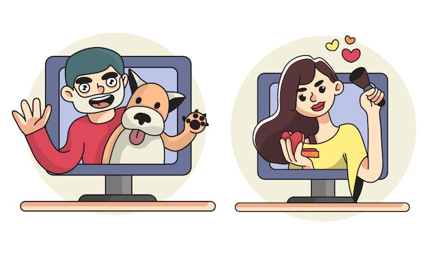 Vlog illustration man with dog pet and beauty channel