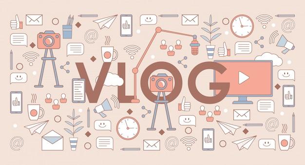 Vlog単語バナーテンプレート。ソーシャルメディアとオンラインコミュニケーション、ビデオ制作のコンセプト。