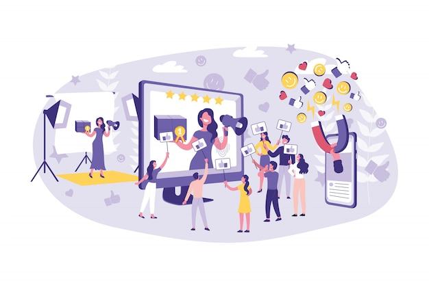 ビジネスコンセプトブログ、vlog、広告、マーケティング。チームワークのビジネスマンと有名人のコンテンツの前進