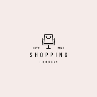ショップブログビデオvlogレビューチャネルのショッピングポッドキャストロゴヒップスターレトロビンテージアイコン