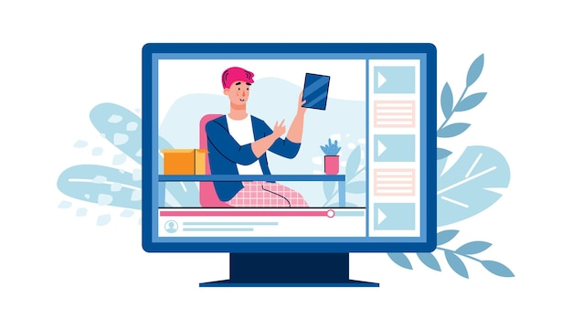 Vlogger filming shopping review on electronic device flat vector illustration