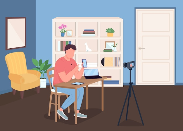 Vlogger flat color illustration. man shooting video with camera. live streaming for social media. record review. blogger 2d cartoon characters with studio interior on background