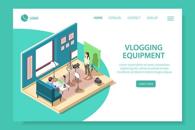 Vlogging equipment isometric web site landing page