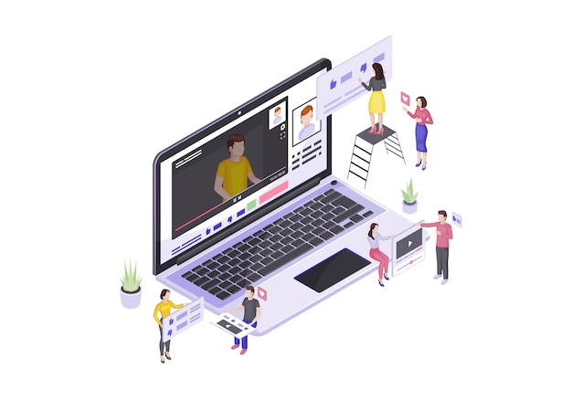 Vlogging isometric vector illustration