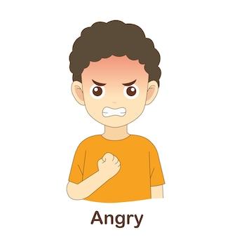 아이들을 위한 어휘 플래시 카드. 화난 사진에 화난 (cefr 어휘 : a1-a2 레벨)