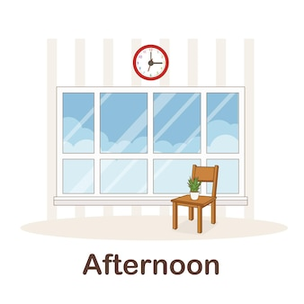 Vocabulary flash card for kids. afternoon to with picture afternoon