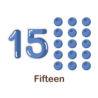 Vocabulary flash card for kids. fifteen to with picture fifteen to
