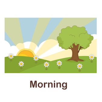 Vocabulary flash card for kids. morning to with picture morning