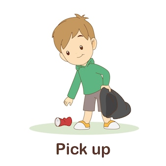 Vocabulary flash card for kids. pick up to with picture pick up to