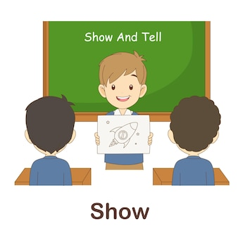 Vocabulary flash card for kids. show to with picture show to