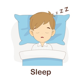 Vocabulary flash card for kids. sleep to with picture sleep to