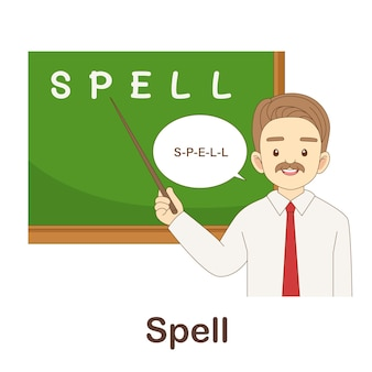 Vocabulary flash card for kids. spell to with picture spell to