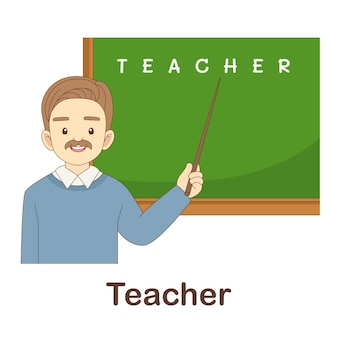 Vocabulary flash card for kids. teacher with picture teacher