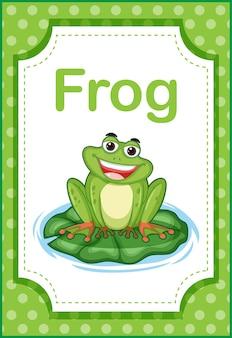 Flashcard di vocabolario con la parola rana