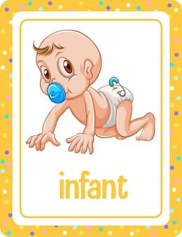 Flashcard di vocabolario con la parola infante
