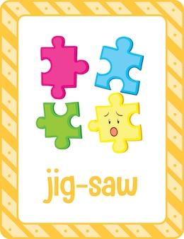 Vocabulary flashcard with word jig-saw