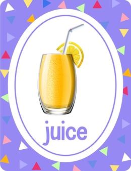 Flashcard di vocabolario con la parola juice
