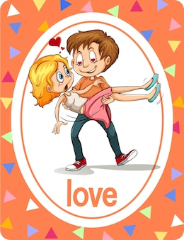 Vocabulary flashcard with word love