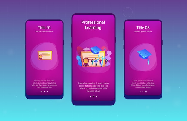 Vocational education app interface template.