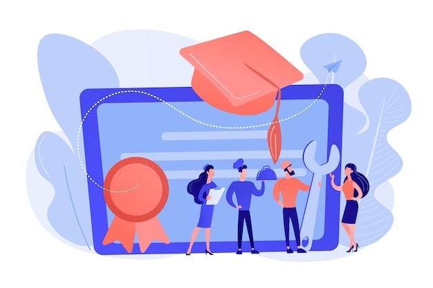 職業専門家の卒業と卒業キャップ付きの卒業証書