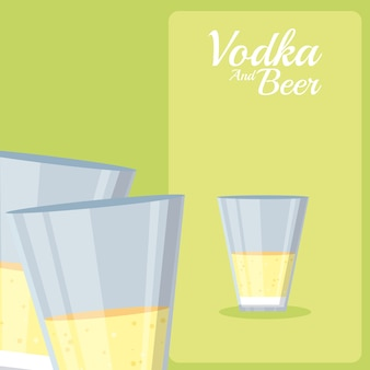 Vodka and beer cocktails cups