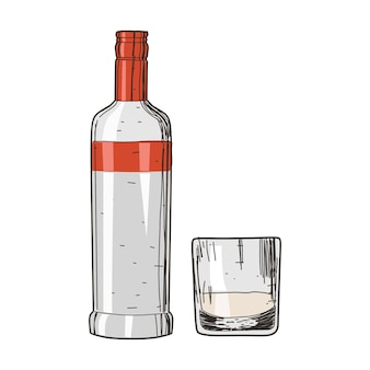 Водка и стакан на винтажном стиле, изолированные на белом фоне