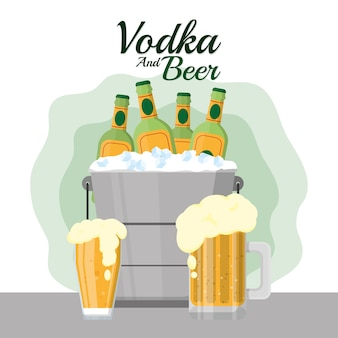 Vodka and beer bar drinks