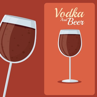 Vodka and beer glass cups vector illustration graphic design