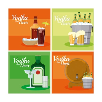 Vodka and beers square frames collection