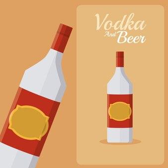 Vodka bottle over orange background