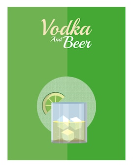 Vodka cocktail with lemon vector illustration graphic design