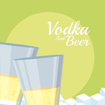 Vodka cups with ice cubes vector illustration graphic design