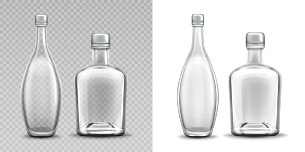 Vodka glass bottle realistic filled alcohol pack