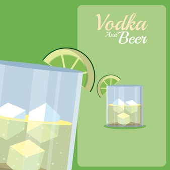 Vodka glass cups with lemons