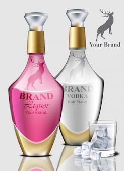 ウォッカの現実的なボトル。製品パッケージングのブランドデザイン。テキストのための場所
