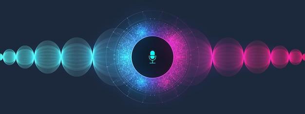음성 및 소리 인식 이퀄라이저 웨이브 흐름 스펙트럼 배경입니다. 음성 비서 개념입니다. 벡터 음파입니다. 개인 비서 및 음성 인식 개념 그라데이션 벡터 일러스트 레이 션.