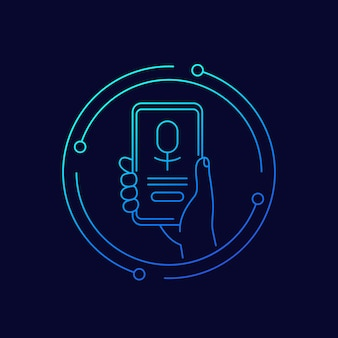 Voice assistant app, phone in hand, line vector icon