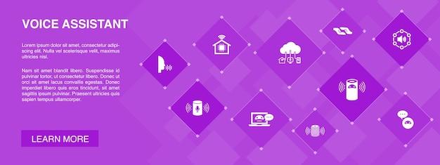 Голосовой помощник баннер 10 иконок концепции. умный дом, голосовой пользовательский интерфейс, умный динамик, простые значки iot