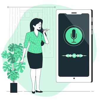 Illustrazione di concetto di assistente vocale