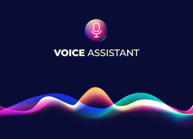 Voice assistant concept page. personal mobile voice recognition, abstract sound waves. microphone icon and neon music equalizer. smart home ui element. speaking waveform, gradient flow.