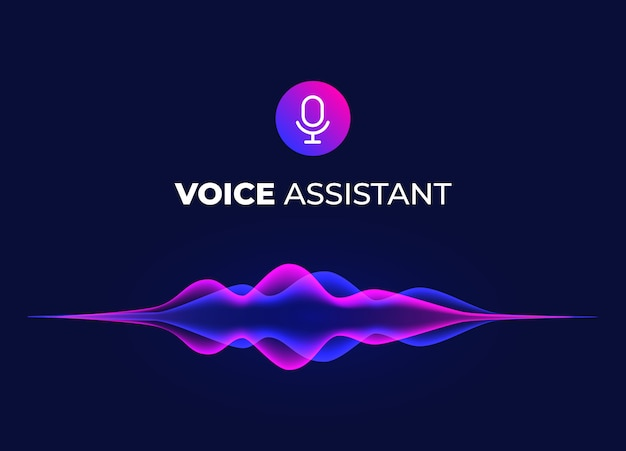 Voice assistant concept page. personal mobile voice recognition, abstract sound waves. microphone icon and neon music equalizer.