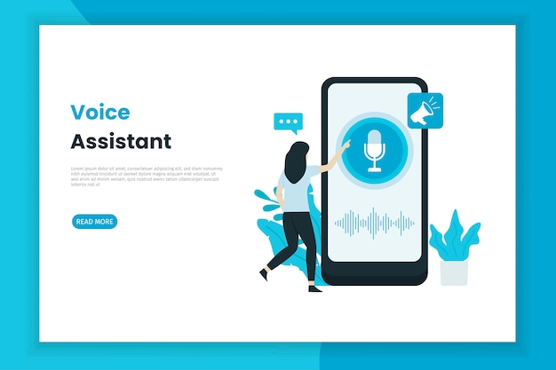 Voice assistant control illustration landing page