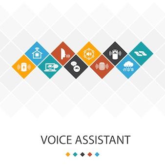 Креативный шаблон голосового помощника с простыми значками