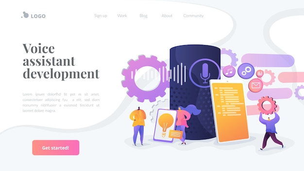 Voice assistant development landing page template