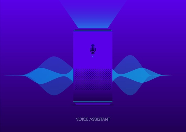 Voice assistant great design for any purposes artificial intelligence tech background soundwave