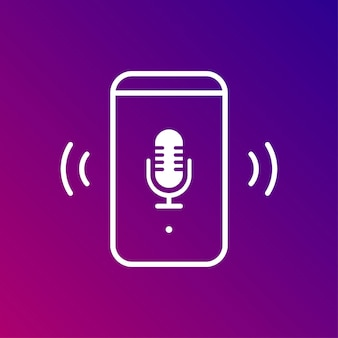 Voice assistant icon on gradient background. vector illustration.