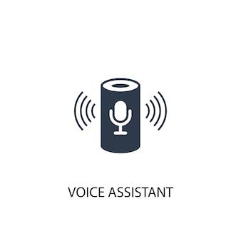 Значок голосового помощника. простая иллюстрация элемента. голосовой помощник концепции символ дизайна. может использоваться в интернете и на мобильных устройствах.